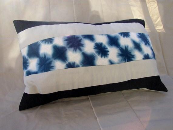 Large Indigo Blue Itajime Shibori Pillow