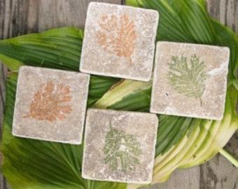Set of 4 Marble Drink Coasters...Oak Leaves