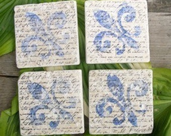 Set of 4 Marble Drink Coasters...Fleur de Lis