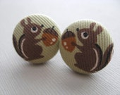 NEW- A Little Nutty- Squirrel and Acorn Fabric Covered Button Shoe Charm