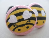 Bumbly Bees- Buzzy Bee Fabric Covered Button Ponytail Holders