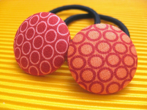 Hot Dots- Red and Orange Sizzling Summer Ponytail Holders