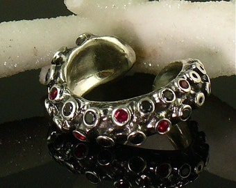 SALE - Ready to Ship!  Blood and Diamonds, Tentacle Ring, Ruby, Black Diamond, Engagement ring, Wedding band, Octopus, tentacle jewelry