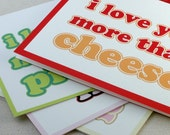 Valentines Cards - I Love You More Than Cheese Pickles Ice Cream Ham Card Set of 4