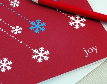 Christmas Card Set -Joy & Snowflakes Holiday Cards Set of 4 by Oh Geez Design