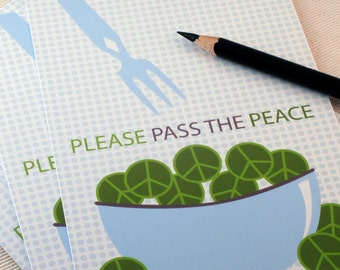Postcard Set - Pass the Peace by Oh Geez Design - Set of Five Peace Postcards