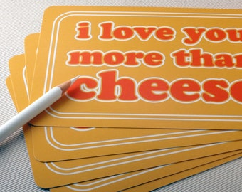 Funny Postcard Set - I Love You More Than Cheese Postcards - Valentines by Oh Geez Design