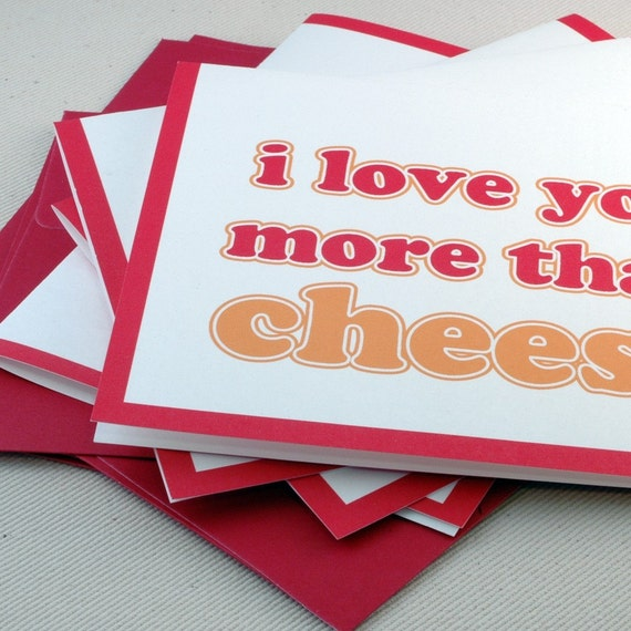 Valentines Card Set -I Love You More Than Cheese Greeting Card Set of 4