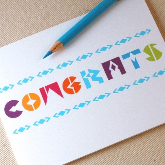 Congratulations Card - Graduation Card - Congrats Modern Geoletric Greeting Card by Oh Geez Design