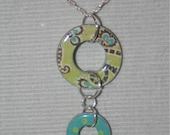 Paisley and polka dotted drop down pendant with sterling silver necklace
