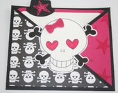 Hot Pink Punk Rock Skull Card