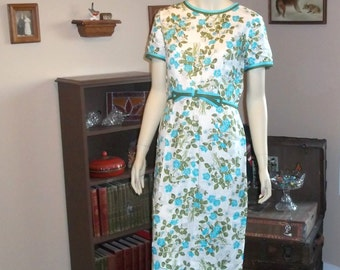 "Liberty of London 50's Dress Excellent condition size M  ,Med , Medium 38"" Wiggle ,Pin Up, Cotton 100% Linen"