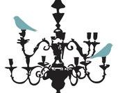 Blue Green Birds on Chandelier Print - 11x14