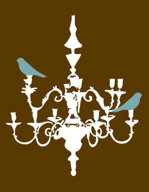 Blue Green Birds on White Chandelier Print - 8x10