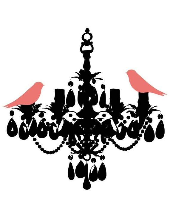 NEW Salmon Birds on Crystal Chandelier Print - 8x10 Limited Edition