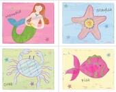 Mermaid Ocean Sea Life Art Prints for Kids Bath or Bedding Decor