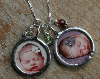 Double Soldered Glass Photo Charm Necklace, Photo Jewelry, Photo Necklace, Personalized Gift, Memorial Photo Charm, Mother's Necklace