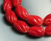 8 pcs Red coral swirl cut oval 10x6mm (item ID GZRCSCR)