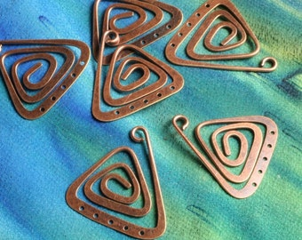 Antquse copper spiral triangle dangle 22x22mm (item ID ACSTD22x22)