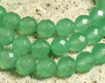 Green chalcedony faceted round 8mm, 12 pcs (item ID GZGCFR8D)