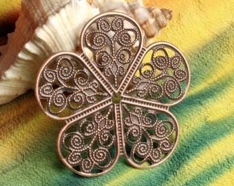 Closeout Antique copper flower wrap 36mm, 10 pcs  (item ID ACFF36)