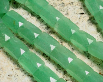 Green aventurine faceted rectangle 8x6mm, 8 pcs (item ID L03GAFRe8x6)