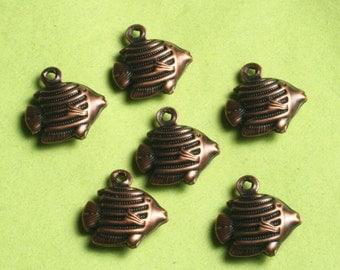 Antique copper fish charm 12x10mm, 24 pcs (item ID ACFCD12x10)