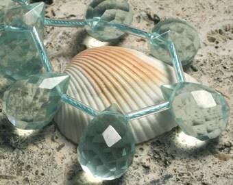 Aqua blue quartz faceted teardrop briolette 18x13mm, 4 pcs (item ID L0818AQFT18)