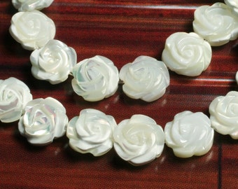 MOP carved rose (both side) 8mm, 6 pcs (item ID L08MOPCF8W)