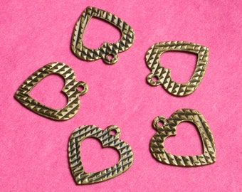 Antique brass heart dangle 12x11mm, select your quantity (item ID ABHD12x11)