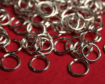 Silver palted jump ring 5mm outer diameter 22g thick, 100 pcs (item ID YWSRJ5m)