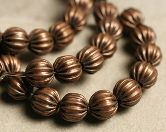SALE Antique copper corrugated round 6mm, 14-inch strand (item ID YWACHM00123)