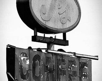 J's Coffee - 11x14 Fine Art Photographic Print - Black and White