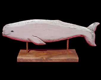 Whales, Beluga Whale, Desktop Series, Hand Carved by Gary Borgnis
