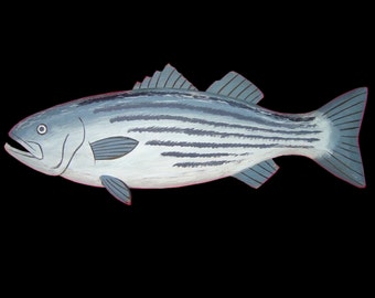Fish, Striped Bass - 2 ft., Hand Carved by Gary Borgnis