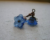 SALE - blue moon flower earrings