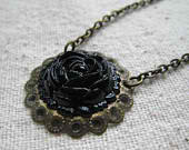 black rose and filigree necklace