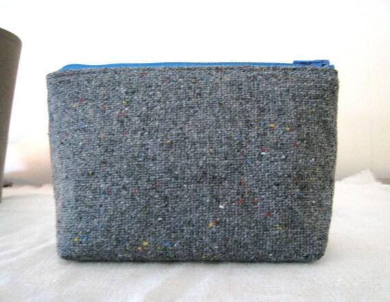 cosmetic bag - grey confetti wool zippy