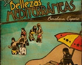 Vintage Travel Advertisement Series - Nude Beach - Barcelona, Spain - 8x8