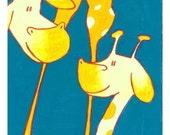Leggy Giraffe Love - 8 x 10 Childrens Art Print