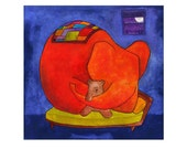 Quiet Sleeping Elephant In a Little Bed - Childrens Art Print