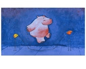 Hippo Jumping Rope At Dusk Childrens Art Print