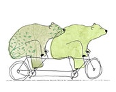 Bearcycle Built For Two - Bears On Bikes Art Print