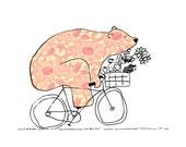 Market Day - Bears On Bikes Art Print