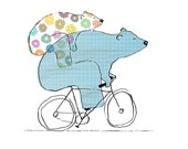 Riding Bearback - Bears On Bikes Art Print