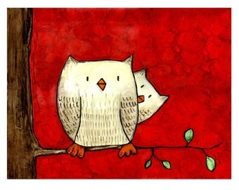 Shy Owl - Childrens Art Print