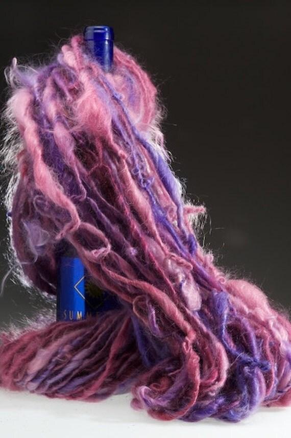 In Between Dreams handspun  pink purple yarn 100 percent MOHAIR 110 yards bulky
