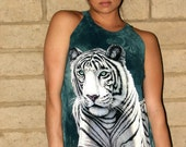 shredded backless WHITE TIGER cut Couture t shirt DIY tank top, micro mini dress, beach cover up