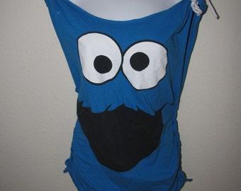 fun backless blue DIY shredded COOKIE MONSTER Sesame St t shirt tunic