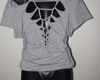 custom BACKLESS shredded t shirt  --  deconstructed, DIY  --  made to fit YOU
